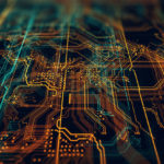 3d_Illustration._Circuit_board_futuristic_server_code_processing._Orange,__green,_blue_technology_background_with_bokeh