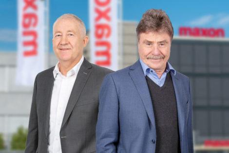 Maxon_Group_CEO_Eugen_Elmiger_und_Verwaltungsratspräsident_Karl-Walter_Braun_(v.l.)