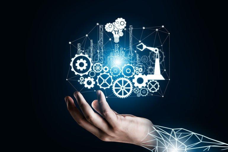 Futuristisches_Industrie_4.0-Konzept_-_Engineering_mit_grafischer_Oberfläche,_die_Automatisierungsdesign,_Roboterbetrieb_und_die_Nutzung_von_maschinellem_Deep_Learning_für_die_zukünftige_Fertigung_zeigt